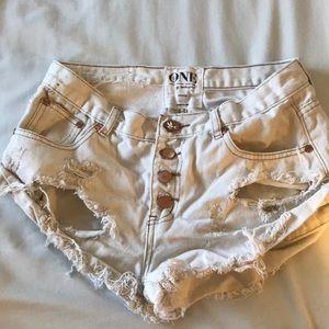 One Teaspoon Bandit white shorts